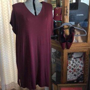 Eileen Fisher Burgundy Wine Knit Dress L